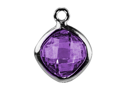 Sterling Silver Square Drop With   Amethyst Colour Cz