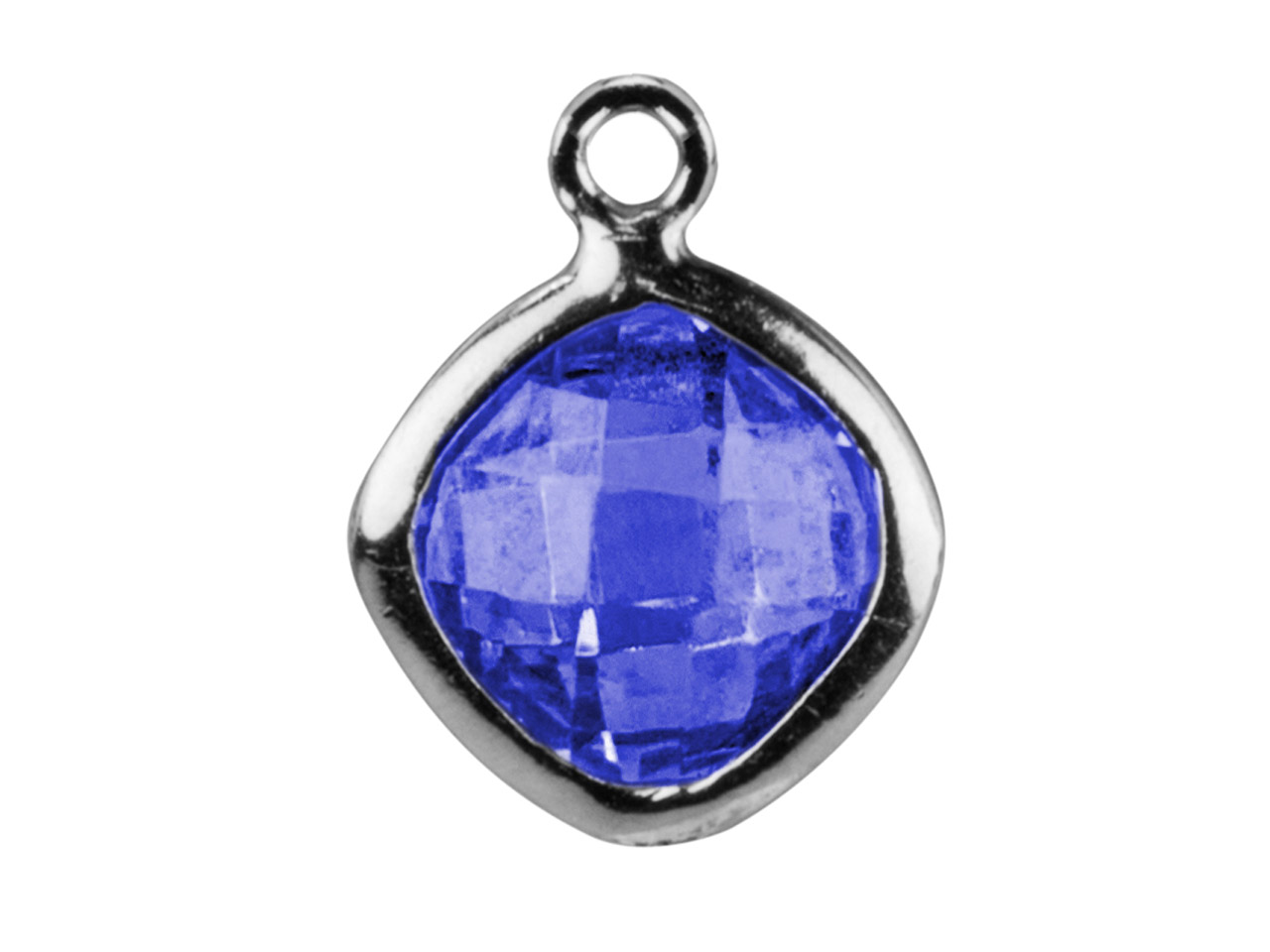 Sterling Silver Square Drop With   Swiss Blue Cubic Zirconia 1 Flat   Loop 6mm