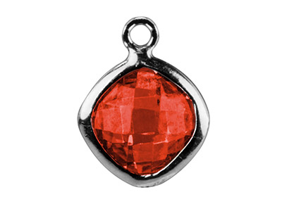 Sterling Silver Square Drop With   Garnet Colour Cz 6 MM
