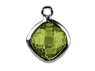 Sterling Silver Square Drop With   Peridot Colour Cz 6mm