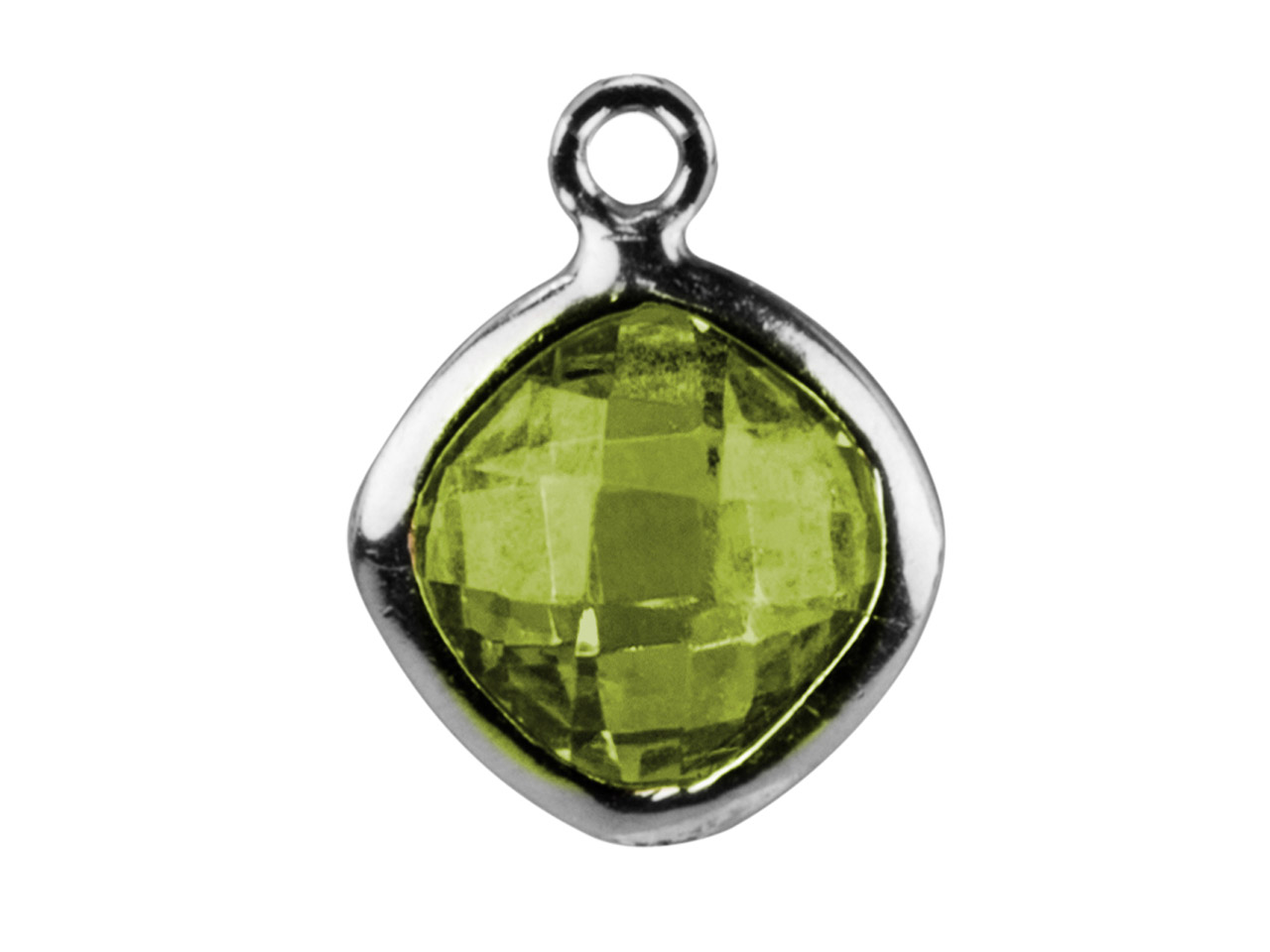Sterling Silver Square Drop With   Peridot Colour Cz, 6mm