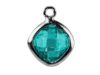 Sterling Silver Square Drop With   Aqua Colour Cz 6mm