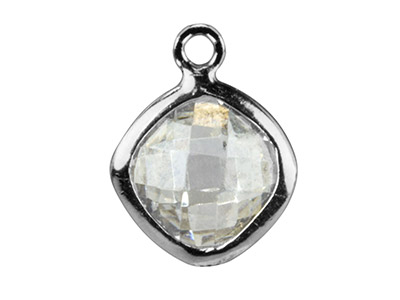Sterling Silver Square Drop With   White Cz 6 MM