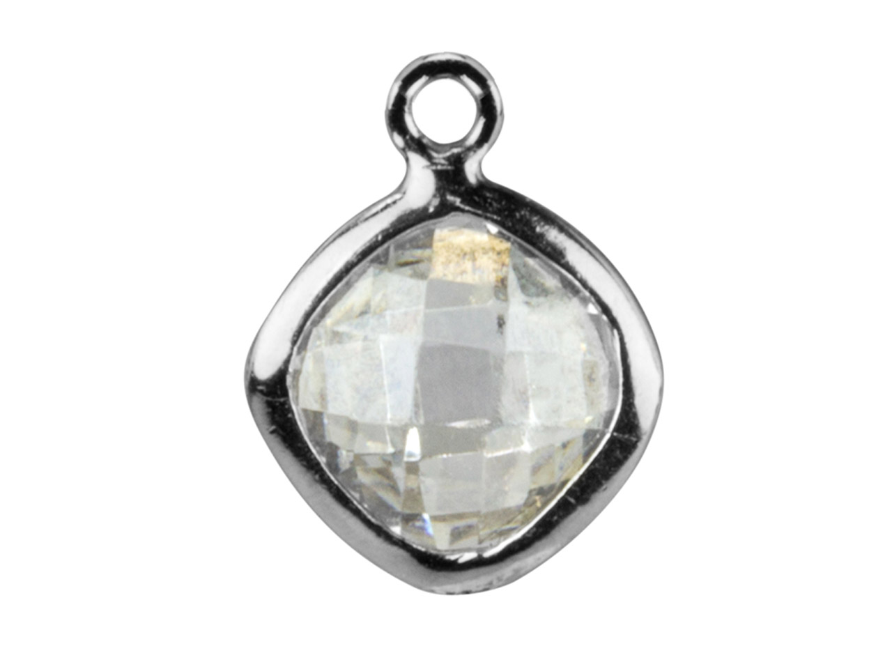 Sterling Silver Square Drop With   White Cubic Zirconia 1 Flat Loop   6mm