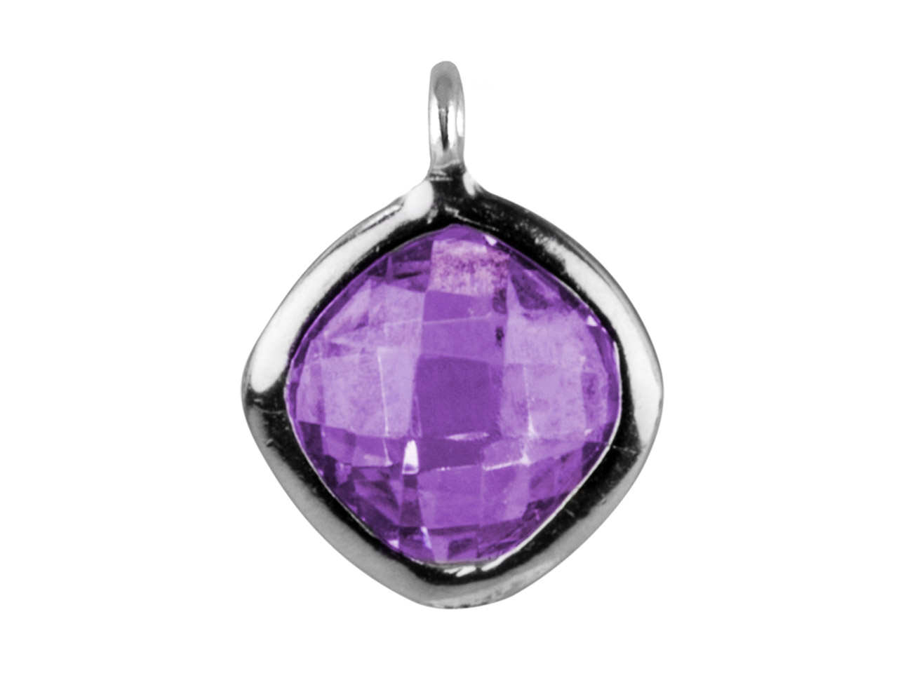 Sterling Silver Square Drop With   Amethyst Colour Cubic Zirconia 1   Angled Loop 6mm