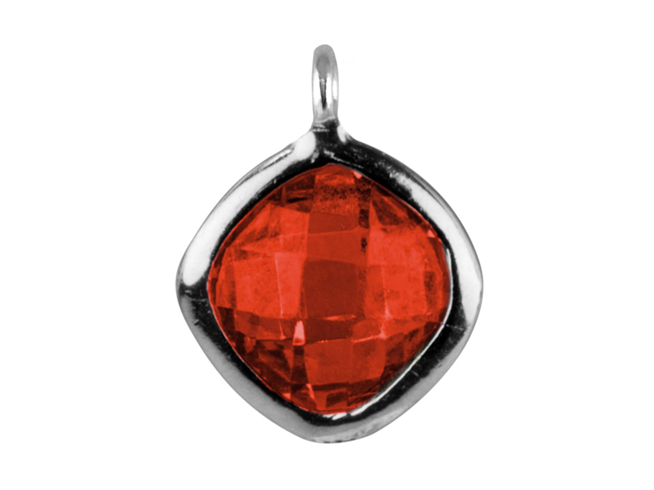 Sterling Silver Square Drop With   Garnet Colour Cubic Zirconia 1     Angled Loop 6mm