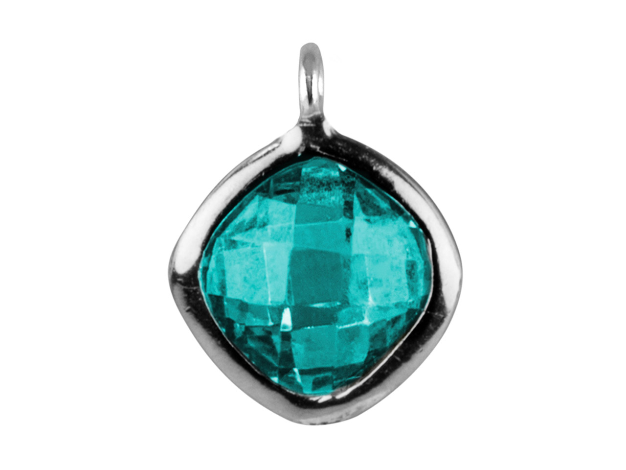 Sterling Silver Square Drop With    Aqua Colour Cubic Zirconia 1 Angled Loop 6mm