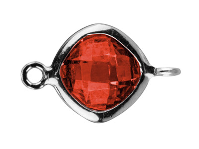 Sterling Silver Square Connector    With Garnet Colour Cubic Zirconia 2 Opposed Angled Loops 6mm