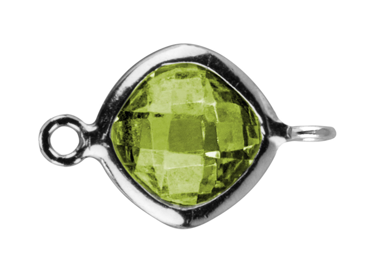 Sterling Silver Square Connector   With Peridot Colour Cubic Zirconia 2 Opposed Angled Loops 6mm