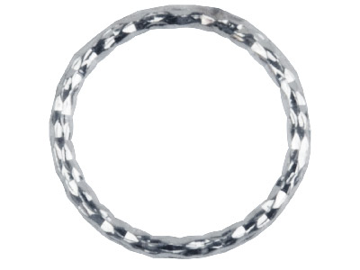 Sterling Silver 1mm X 10mm         Outside Diameter Pack of 10,       Diamond Cut Decorative Jump Ring