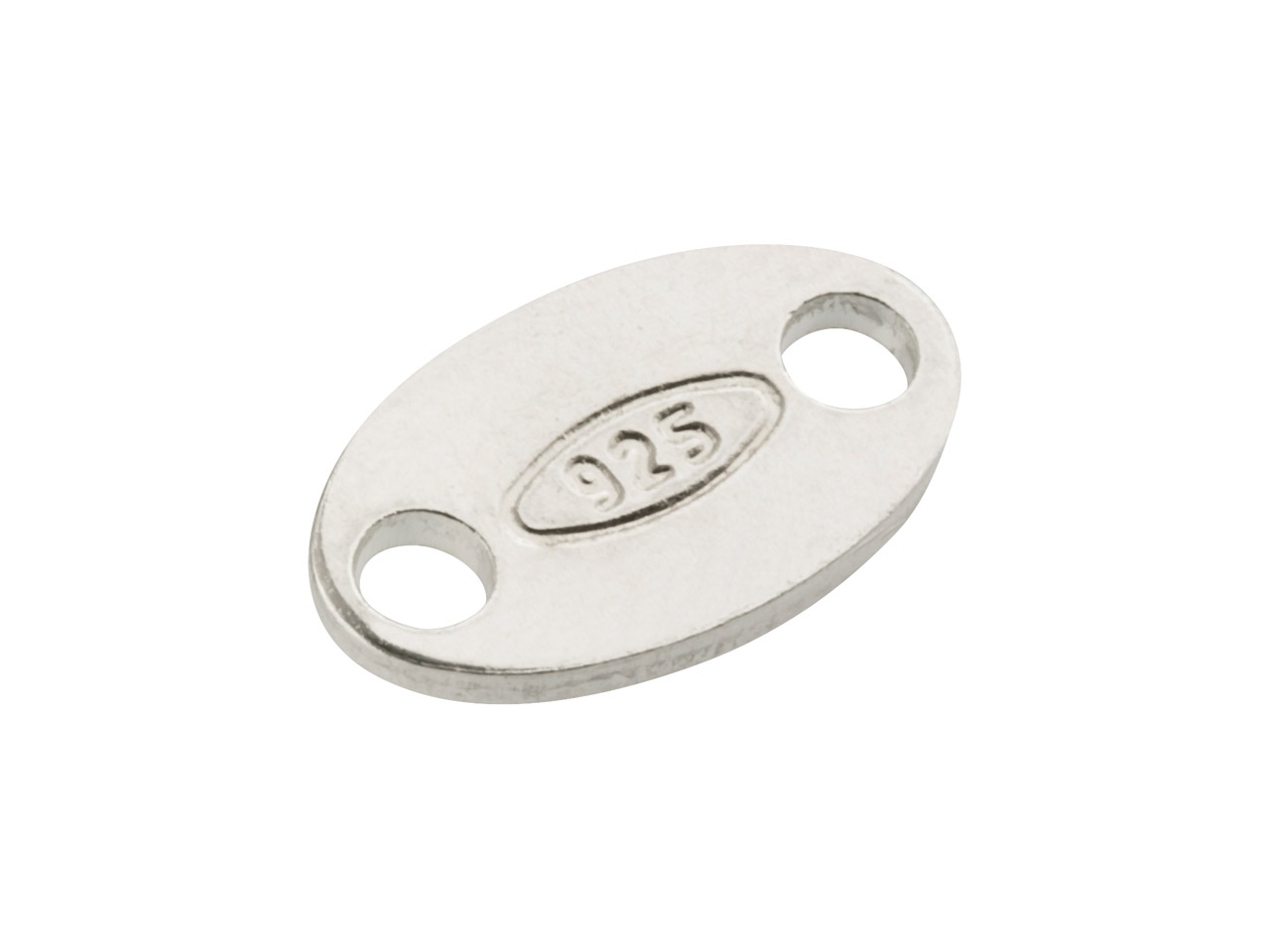 Sterling Silver Oval Hallmark Tag  Pack of 10, Stamped 925