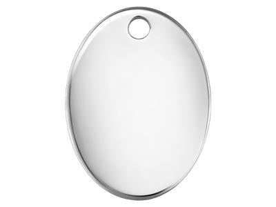 Sterling Silver Oval Hallmark      Quality Tags 7x5mm Pack of 10