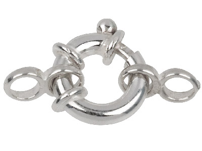 Sterling Silver Jumbo Bolt Ring 13mm With 2 Figure Of 8 Jump Rings
