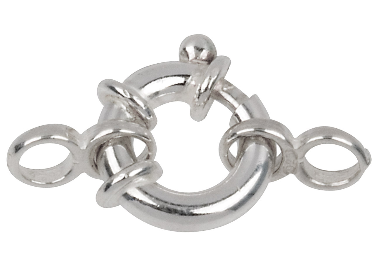 Sterling Silver Jumbo Bolt Ring     13mm, With 2 Figure Of 8 Jump Rings