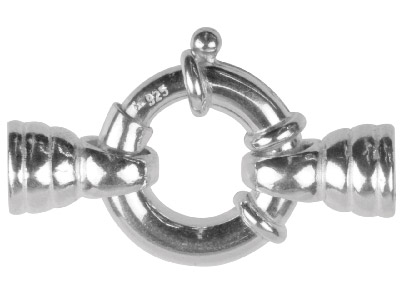 Sterling Silver Jumbo B Ring 18mm V142 Round Caps With Hole  Bar  3 Jump Rings Stamped stg925