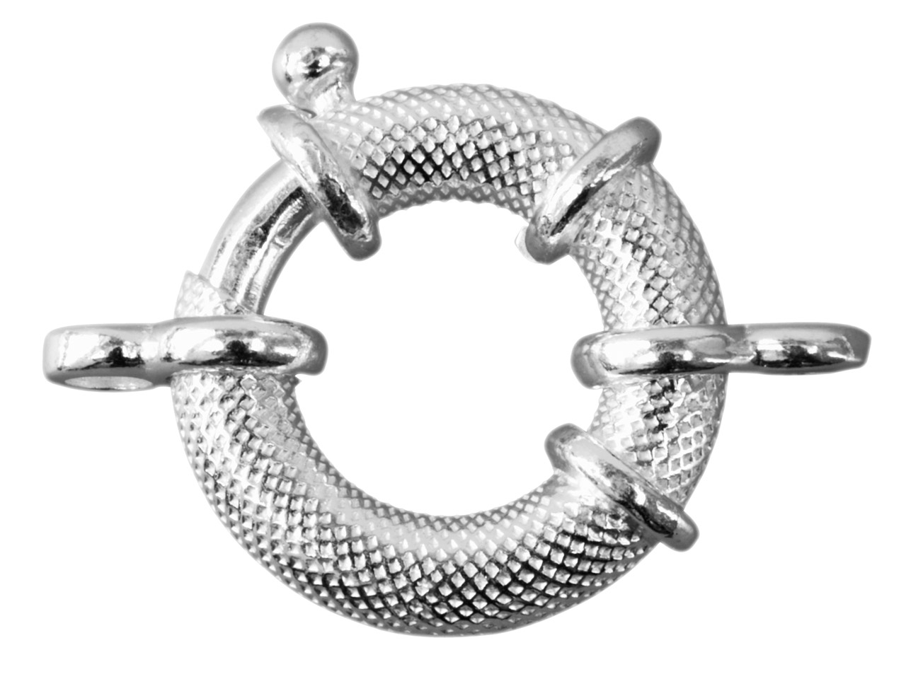 Sterling Silver Jumbo Bolt Ring     19mm, With 2 Figure Of 8 Jump Rings Textured Finish
