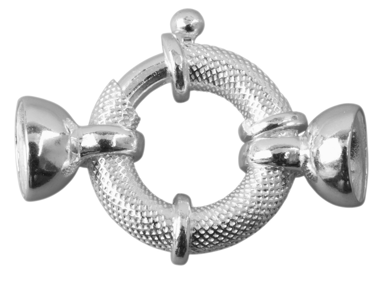 Sterling Silver Jumbo Bolt Ring    18mm Od, With 2 Round Caps And     Internal Bar Textured Finish