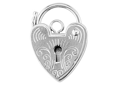 Sterling Silver Padlock Engraved   11.0mm Marked 925