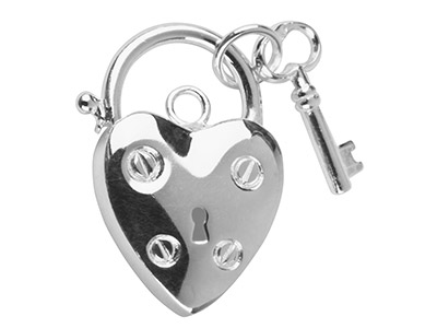 Sterling Silver Heart Padlock With Key 15mm