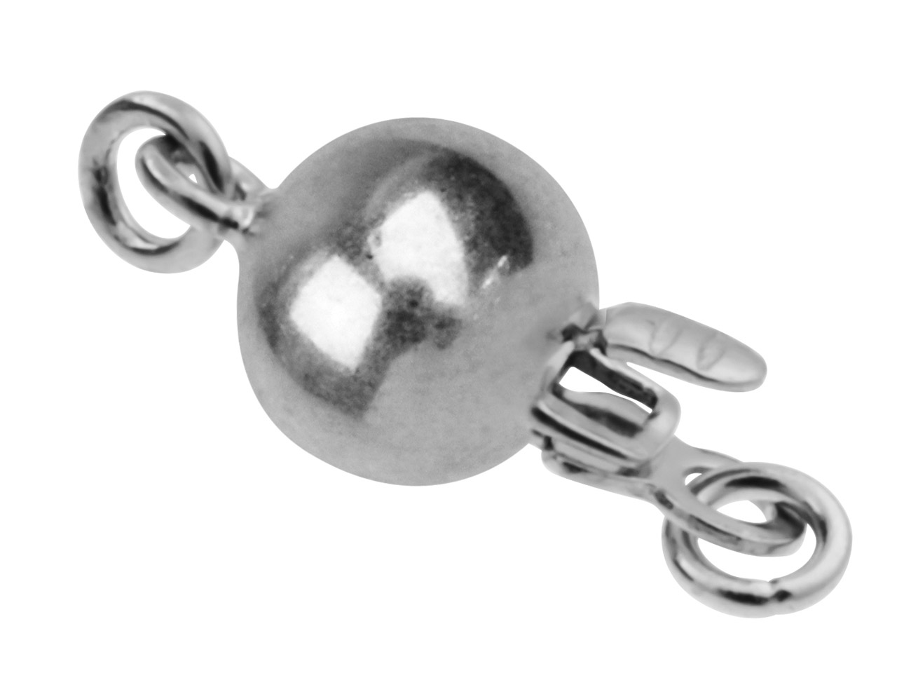 Sterling Silver Plain Round Ball   Clasp, 6mm
