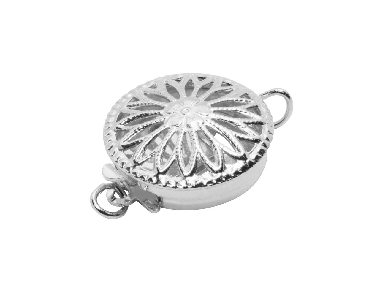 Sterling Silver 12mm Round Fancy   Clasp, Pierced On Both Sides And   Flattened