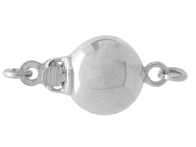 Sterling Silver Clasp 8mm, 1 Row,  Elliptical Shape, Polish Finish
