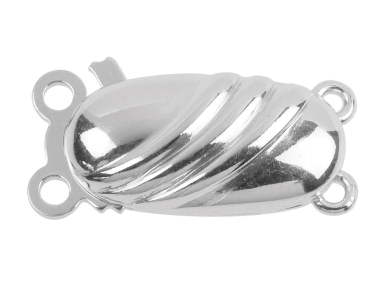 Sterling Silver 13mm Oval Patterned 2 Row Clasp 13x5mm, 3 Diagonal      Curved Soft Ridges