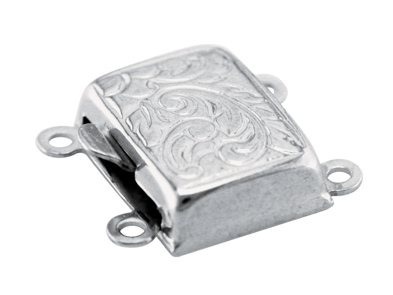 Sterling Silver 10mm 2 Row Engraved Clasp 10x8mm Rectangle-engraved On  The Top