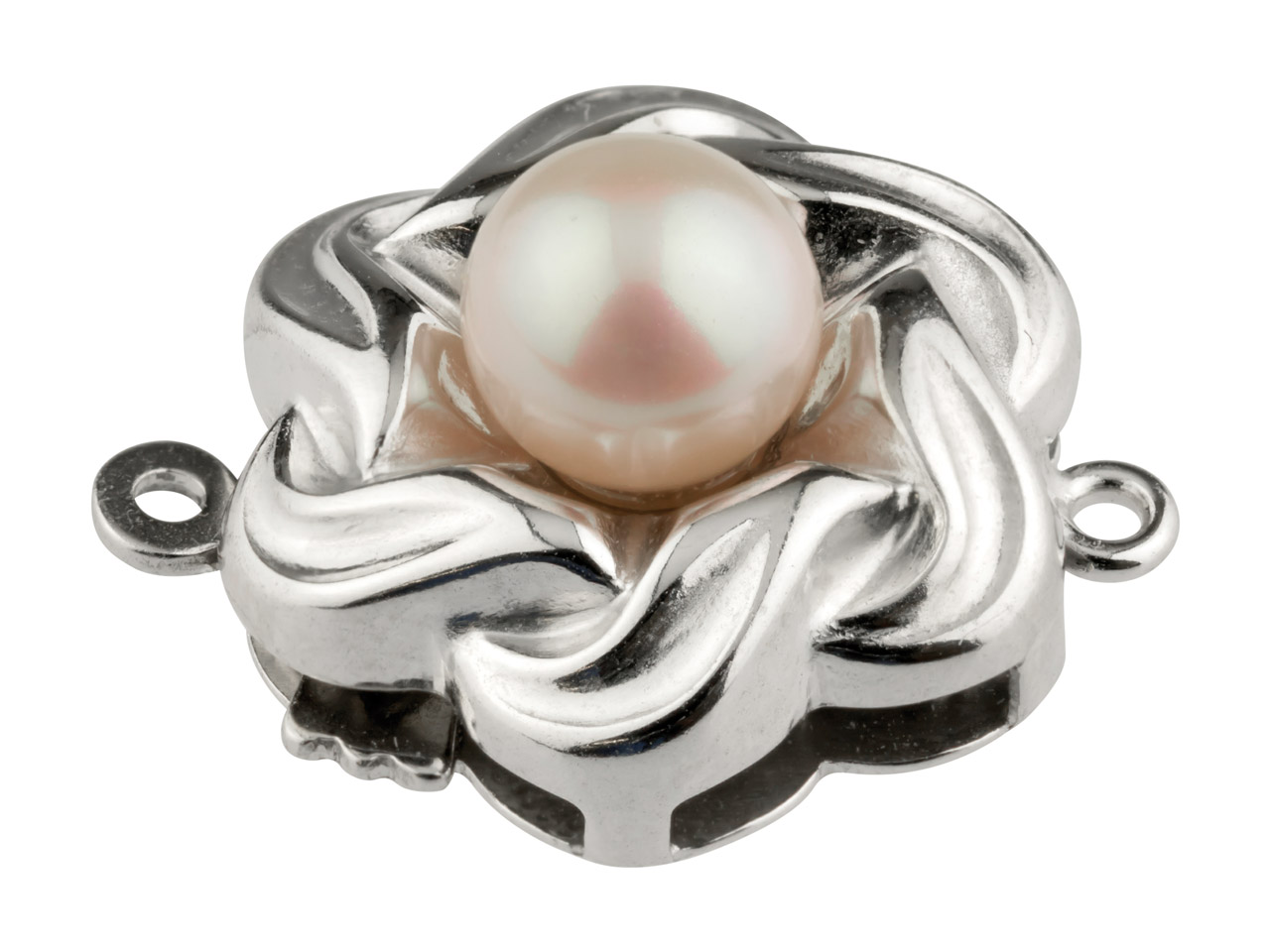 Sterling Silver Clasp With Cultured Pearl 15mm Flower Shape