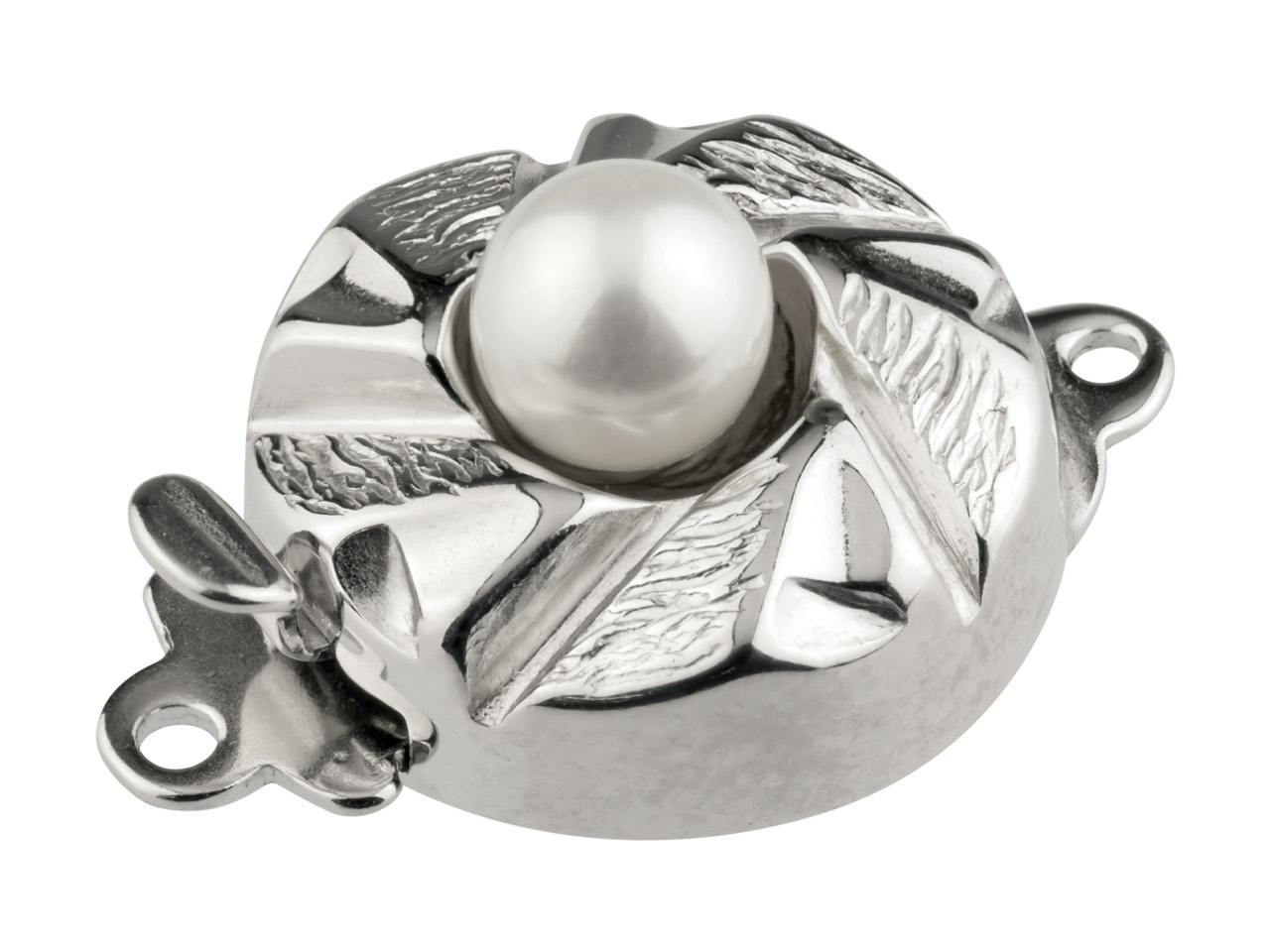 Sterling Silver Clasp With Cultured Pearl 12mm Round