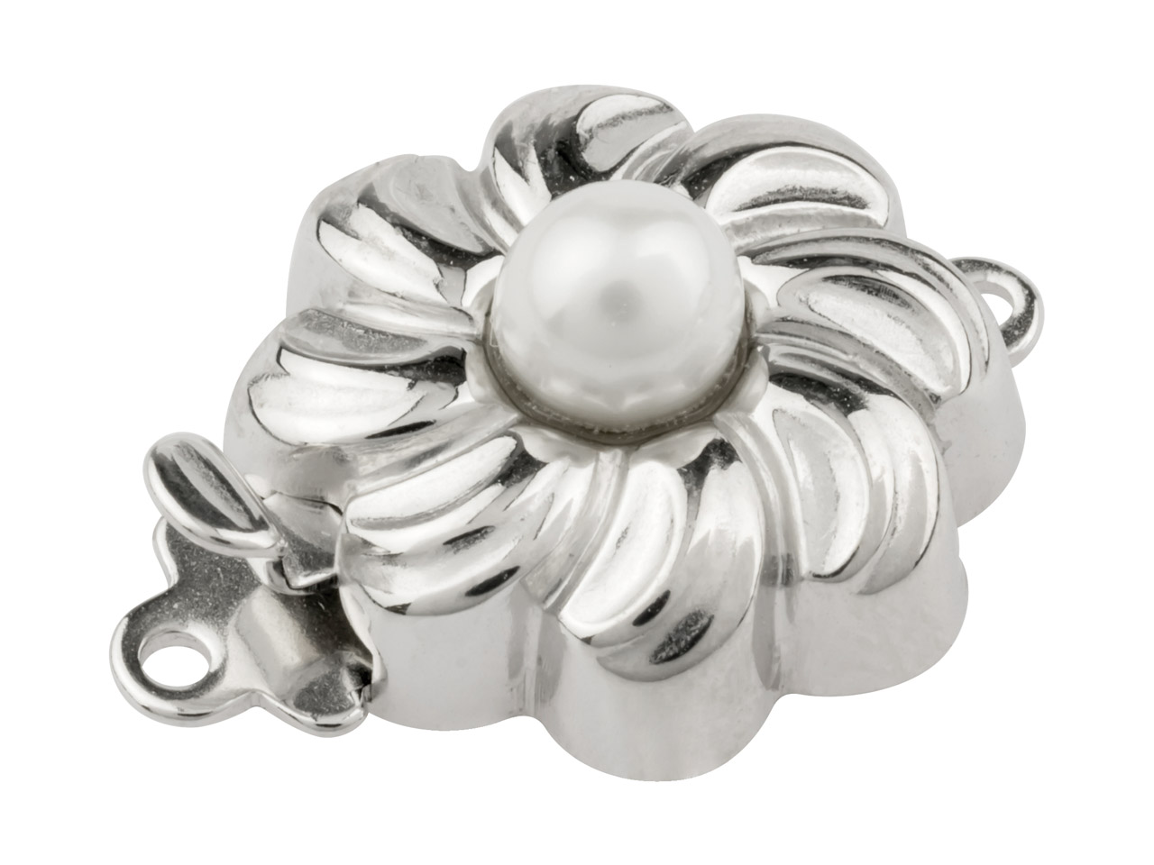 Sterling Silver Clasp With Cultured Pearl 13mm Round Flower Shape