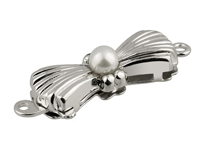 Sterling Silver Clasp With Cultured Pearl 17x6mm Bow Shape