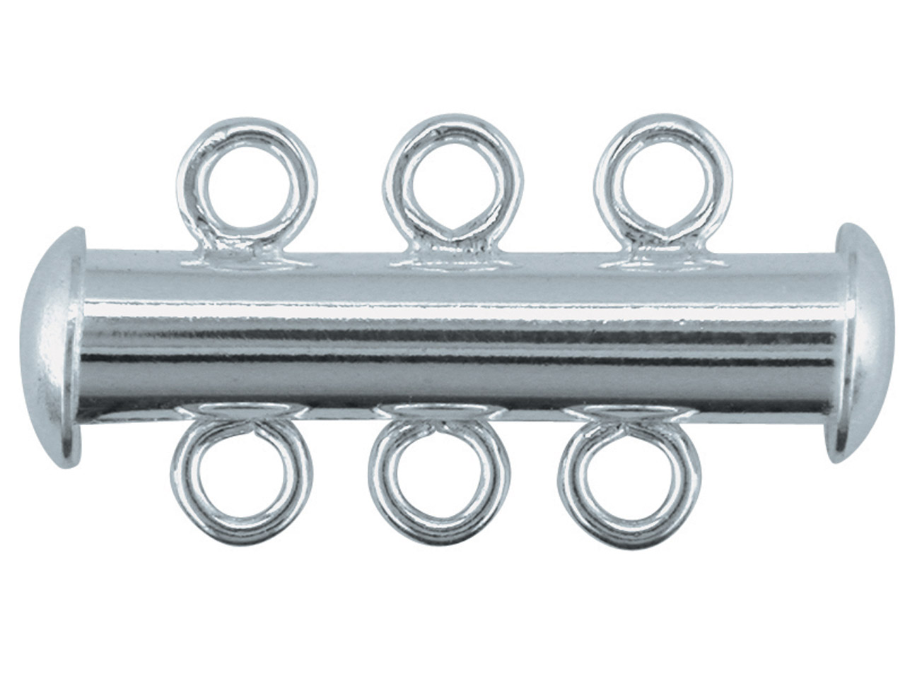 Sterling Silver 3 Row Tube Clasp   22x5mm