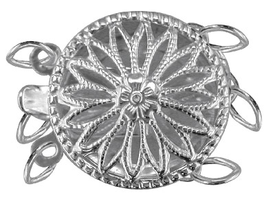 Sterling-Silver-3-Row-Round-Fancy--Cl...