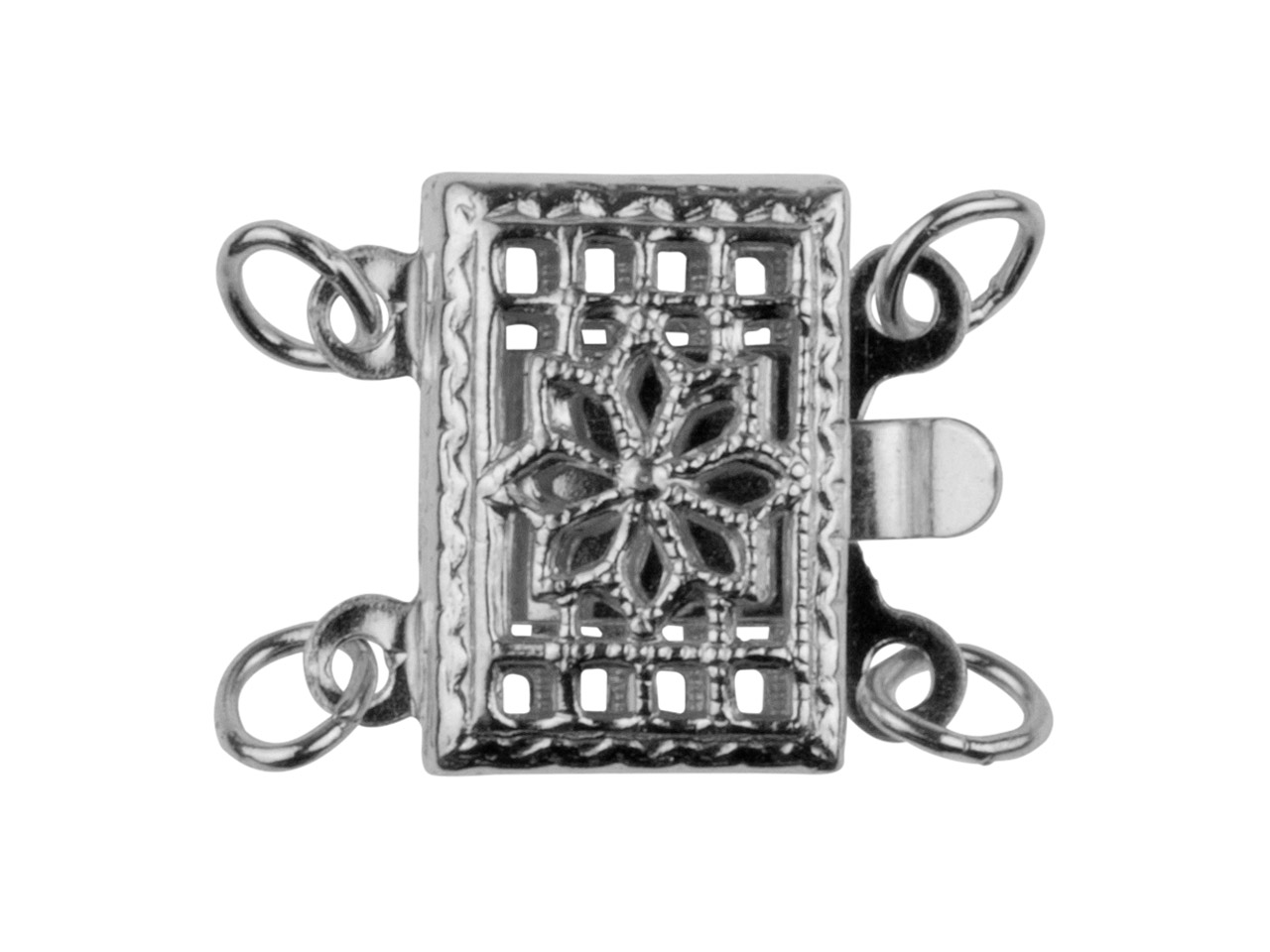 Sterling Silver 2 Row Rectangular  Fancy Clasp 7.5 X 10.5mm