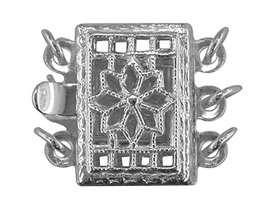 Sterling Silver 3 Row Rectangular  Fancy Clasp 7.5 X 10.5mm