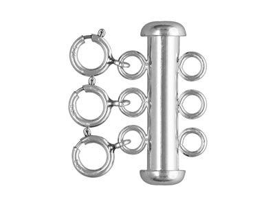 Sterling Silver 3 Row Bolt Ring    Tube Clasp 22x4mm