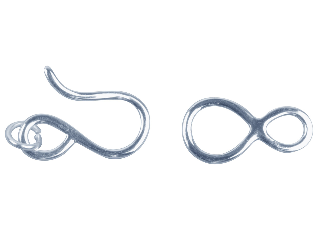 Sterling Silver Hook And Ring Clasp 20mm Hook, 20mm Figure Of 8 Ring