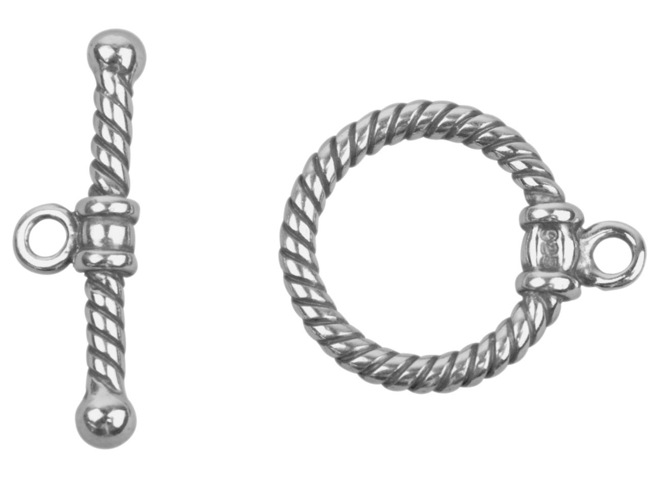 Sterling Silver Oxidised Ring And  Bar Clasp 23mm Bar, 15mm Toggle