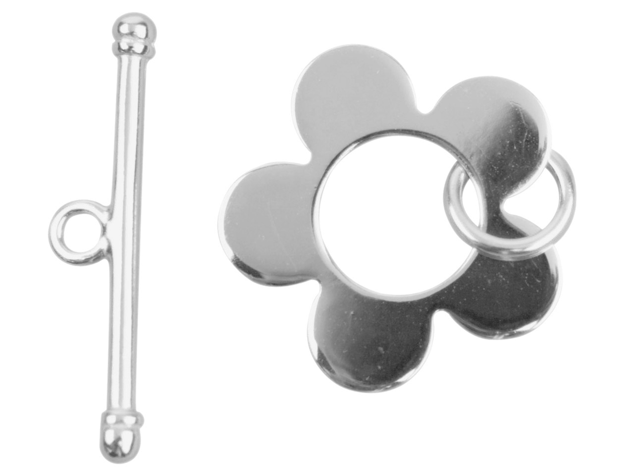 Sterling Silver Flower Ring And Bar Clasp 23mm Bar, 20mm Ring