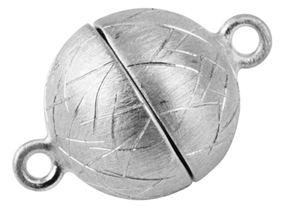 Sterling Silver Magnetic Clasp 9mm Ball, Matt Design