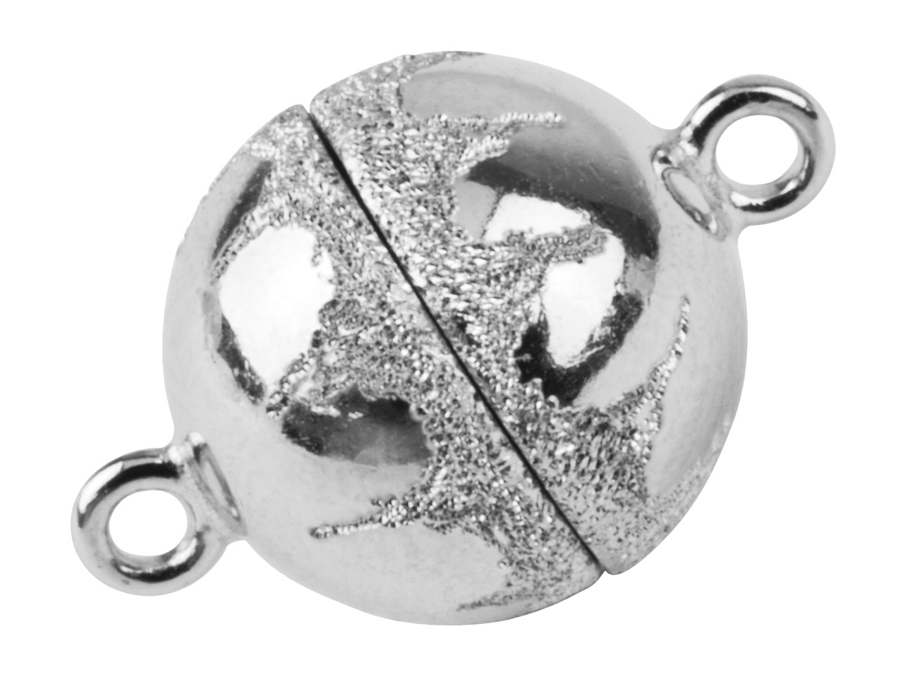 Sterling Silver Magnetic Clasp 9mm Lasered Ball, Diamond Cut Design