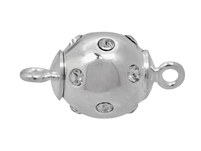 Sterling Silver Magnetic Clasp 12mm Ball Set With Cubic Zirconia And   Fitted With Centre Magnet