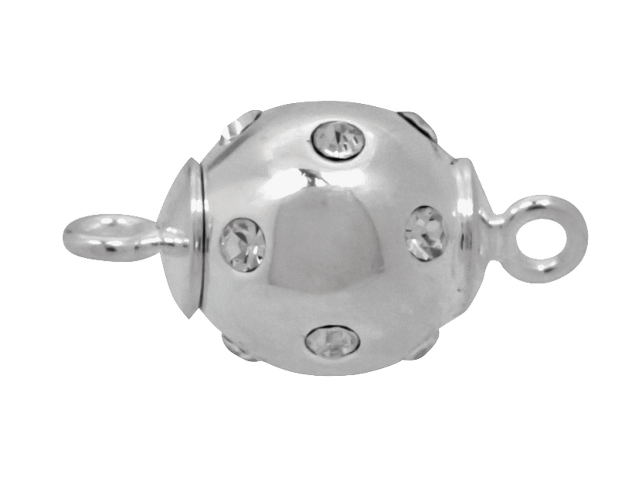 Sterling Silver Magnetic Clasp 12mm Ball, Set With Cubic Zirconia And   Fitted With Centre Magnet