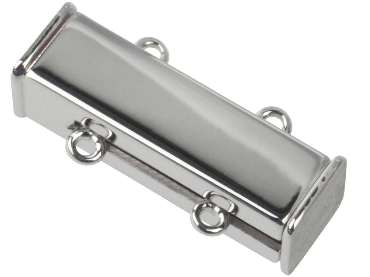 Sterling Silver Magnetic Clasp 2   Row Plain