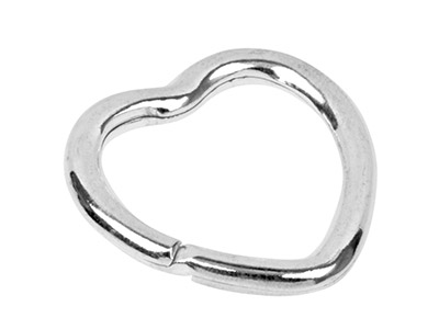Sterling Silver Key Ring 30mm Split Ring, Heart Shape