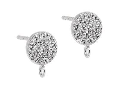 Sterling Silver Stone Set Round    Ear Stud With Ring Pack of 2
