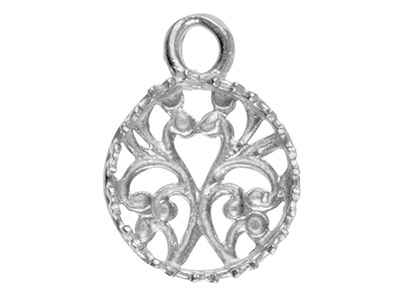 Sterling Silver Round Filigree     Bezel Cup 10mm