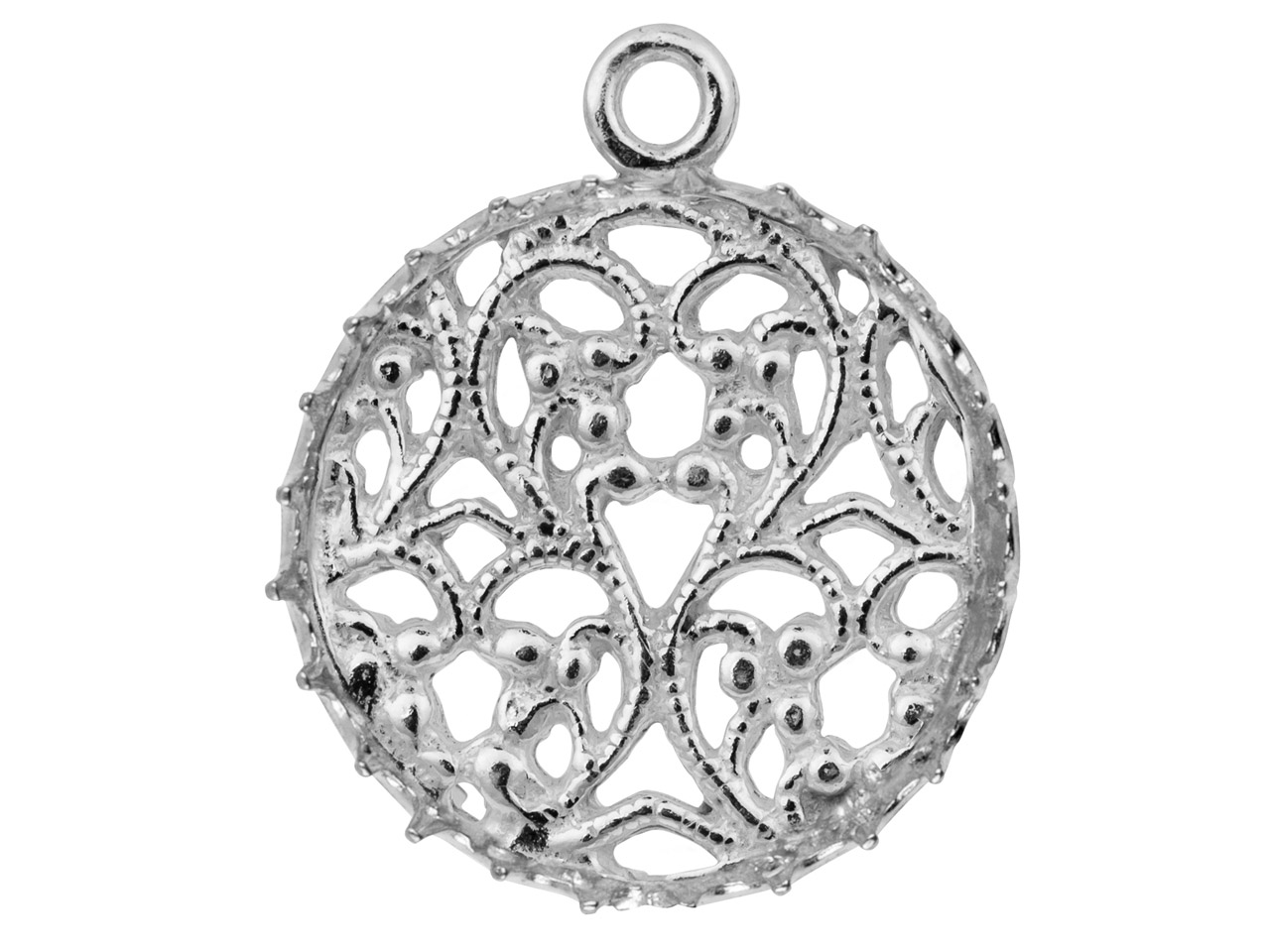 Sterling Silver Round Filigree     Bezel Cup 16mm