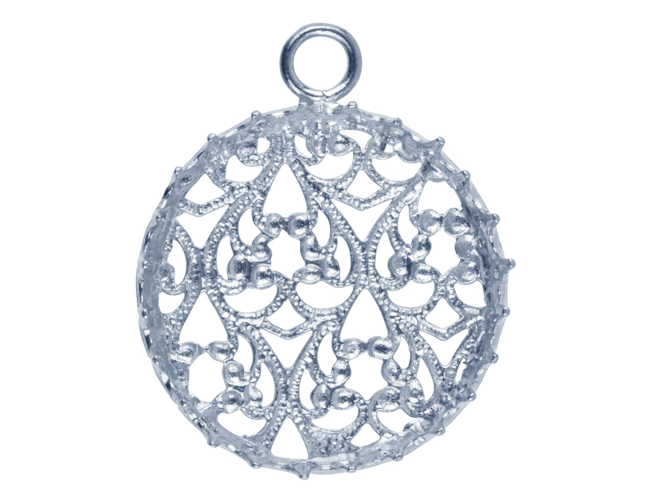 Sterling Silver Round Filigree     Bezel Cup 20mm